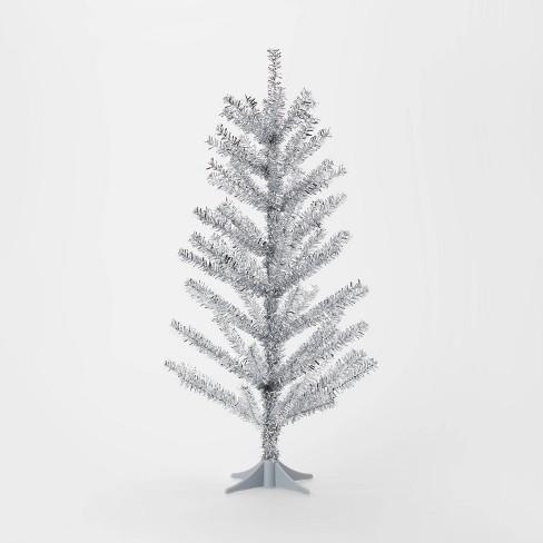 Christmas Tree Tinsel.2ft Mini Unlit Tinsel Artificial Christmas Tree Silver Wondershop