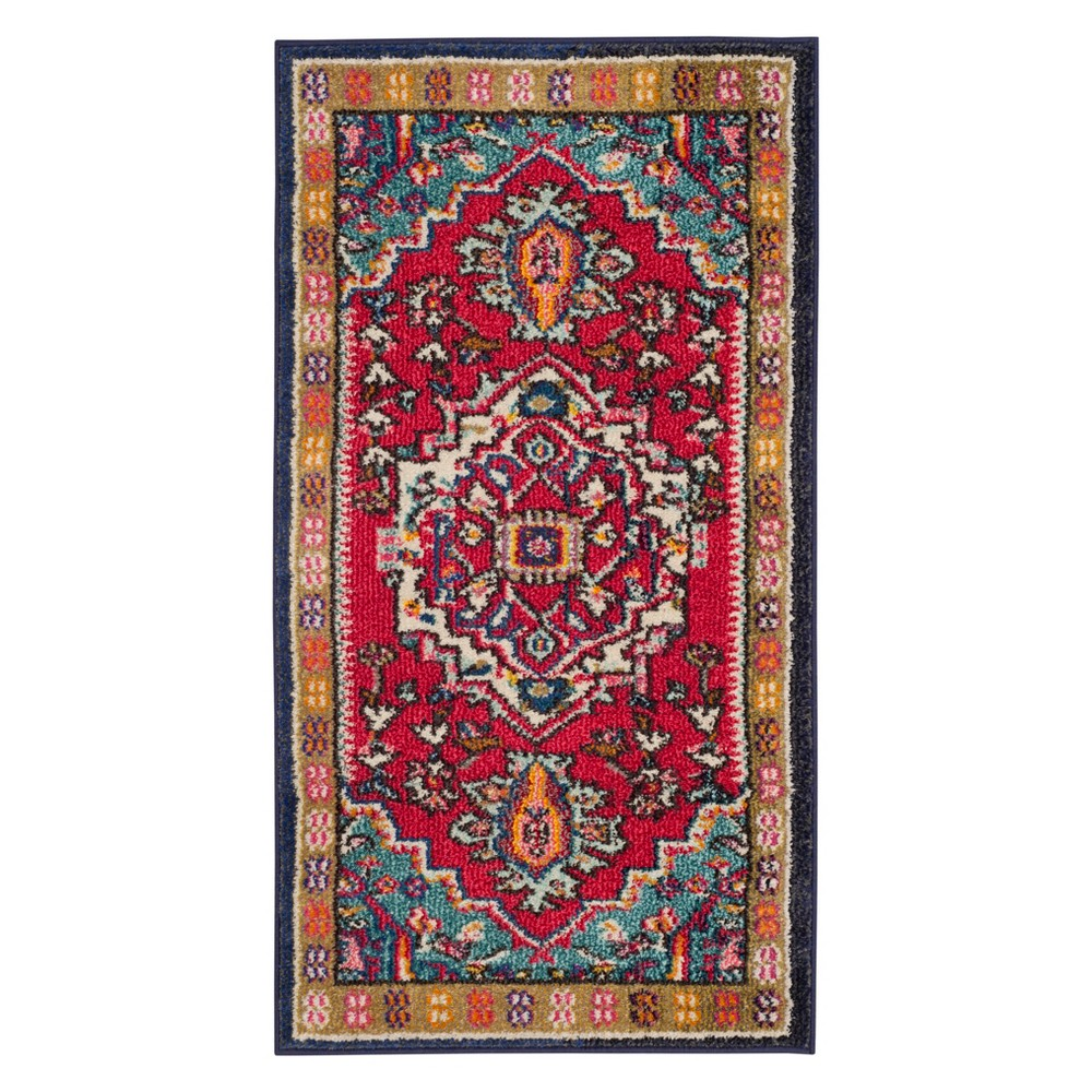 22X4 Medallion Accent Rug Red/Turquoise - Safavieh Promos