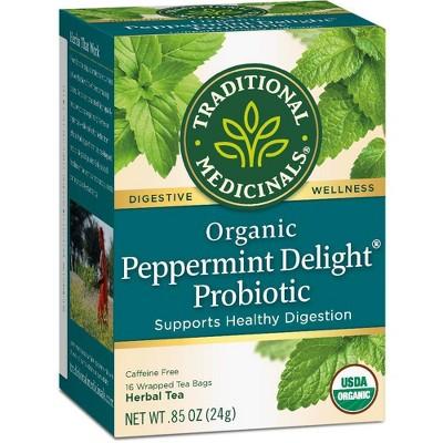 Tea Bags: Traditional Medicinals Peppermint Delight Probiotic Tea Bags