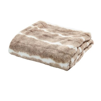 """50""""x60"""" Two-Tone Throw Blanket White/Taupe - Sure Fit"""