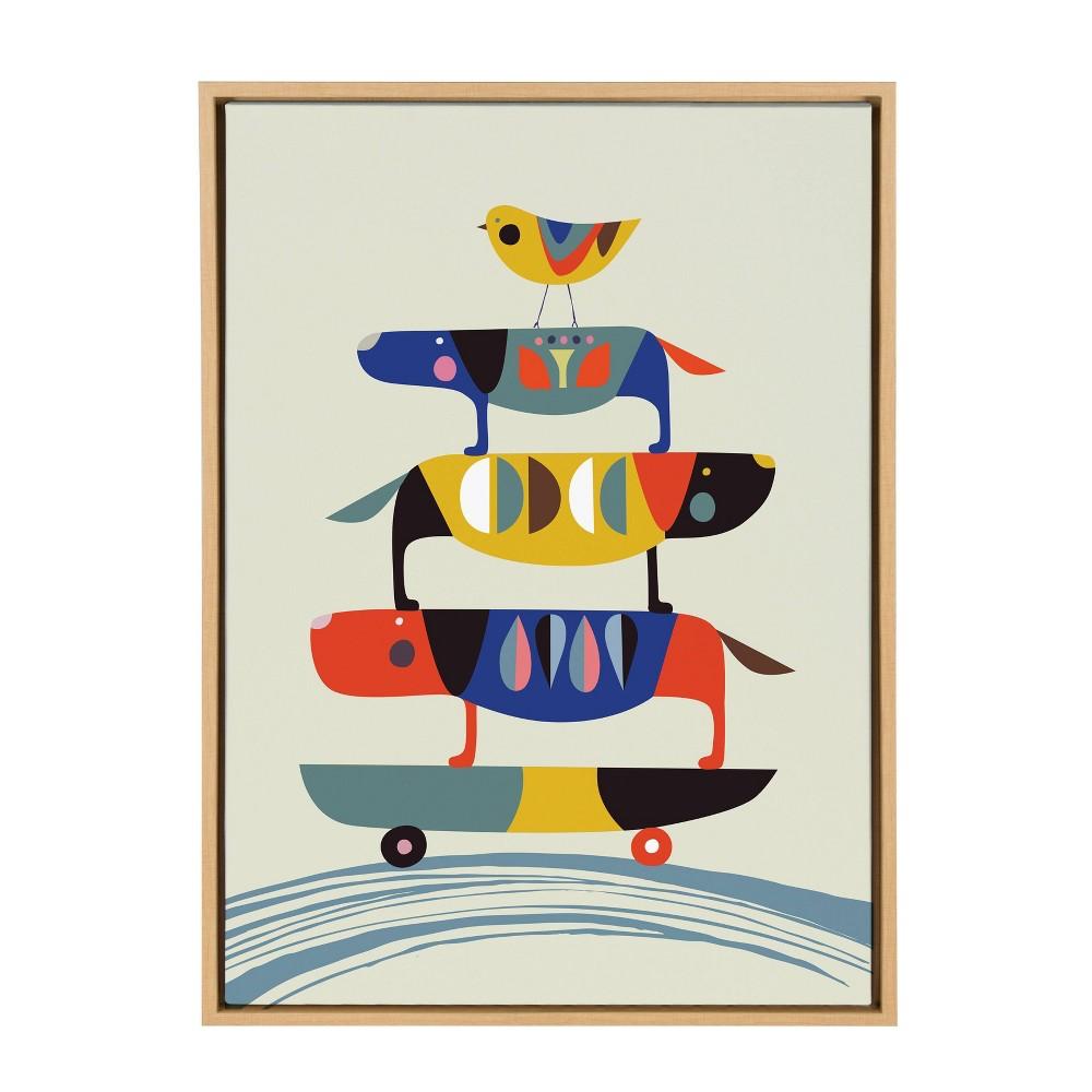"""Image of """"23""""""""x33"""""""" Slyvie Skate Dog Framed Canvas By Rachel Lee Natural - Kate and Laurel"""""""