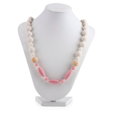 Nuby Silicone Teething Necklace - Off White/Pink