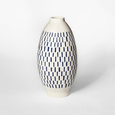 11.6  x 5.8  Stoneware Block Print Vase White/Blue - Threshold™
