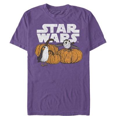 Men's Star Wars The Last Jedi Happy Halloween Porg Logo T-Shirt