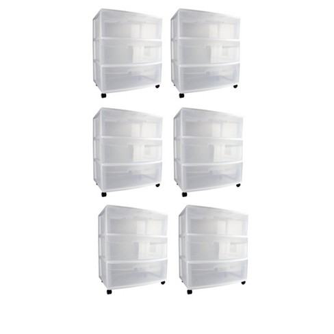 Sterilite 29308002 Home 3 Drawer Wide Storage Cart Container w/ Casters (6 Pack) - image 1 of 4