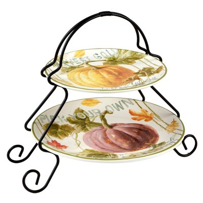 Earthenware 2-Tier Autumn Harvest Serving Tray with Metal Stand- Certified International