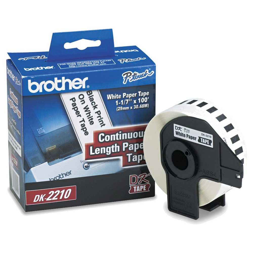 Brother Continuous Paper Label Tape 1.1'x100' Roll - White