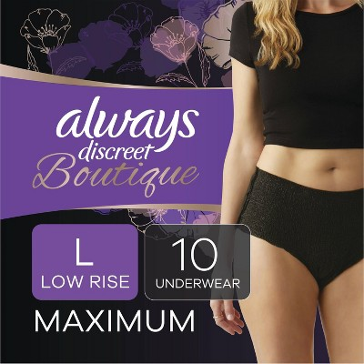 Always Discreet Boutique Low-Rise Postpartum Incontinence Underwear - Maximum Absorbency Black - L - 10ct