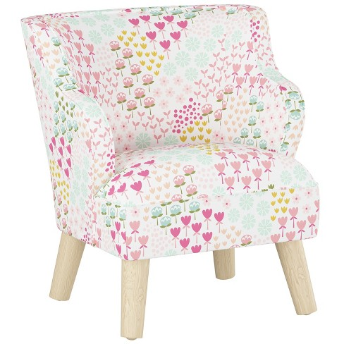 Remarkable Kids Curved Arm Modern Chair Flower Patch Pink With Natural Legs Pillowfort Creativecarmelina Interior Chair Design Creativecarmelinacom