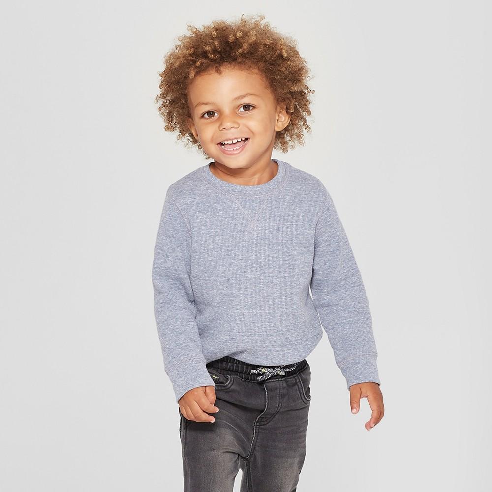 Toddler Boys' Thermal Long Sleeve T-Shirt - Cat & Jack Navy Heather 12M, Blue