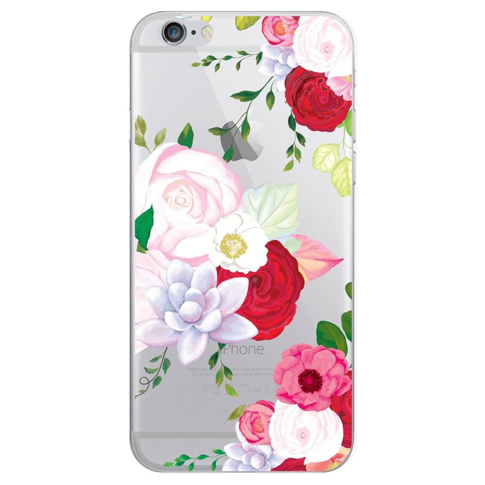 Apple iPhone 8/7/6s/6 Case Hybrid Flower Garden Clear Red - Otm Essentials