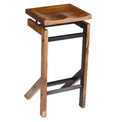 "29"" Metal Frame Acacia Wood Barstool with Saddle Seat Brown/Black - The Urban Port"