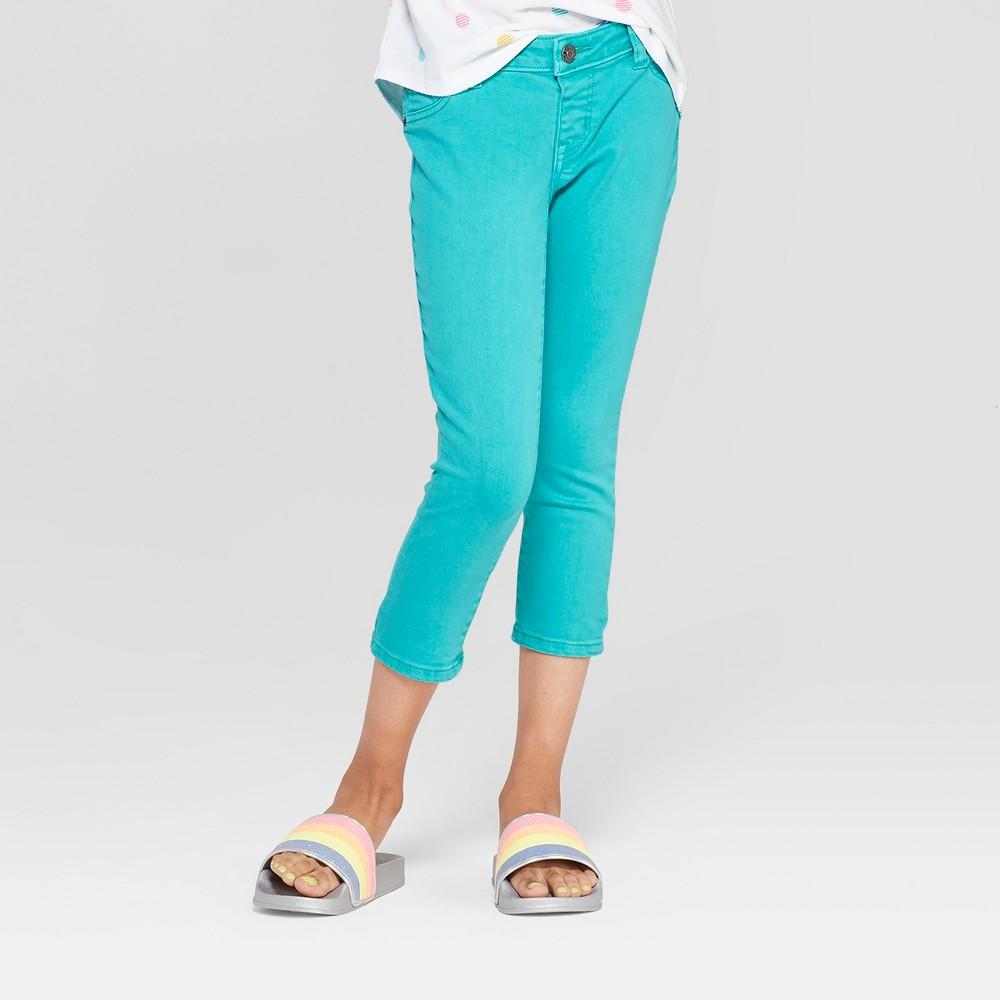Girls' Crop Jeans - Cat & Jack Teal 6 Slim, Blue