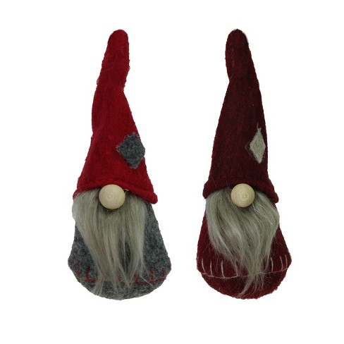 "NORTHLIGHT 2ct Santa Gnomes Christmas Ornament Set 4.75"" - Gray/Burgundy Red - image 1 of 2"