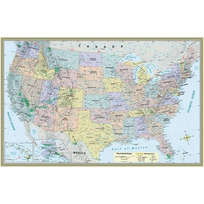 U.S. Map Poster (32 X 50 Inches) - Laminated - 2nd Edition by  Mapping Specialists (Sheet Map, Flat)