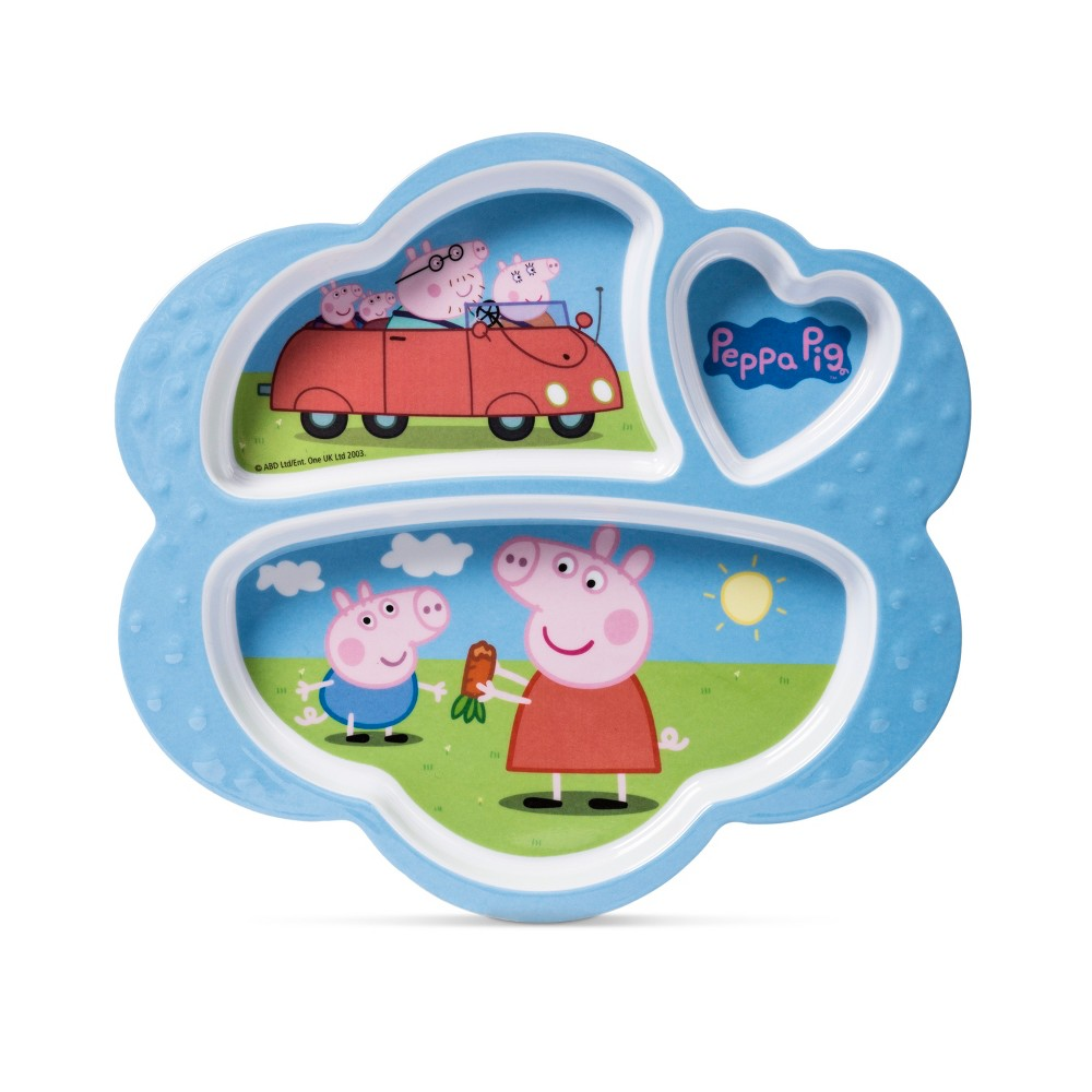 """Image of """"Peppa Pig Entertainment One Melamine Kids Plate 7.5"""""""" x 8.6"""""""" Blue, Lite Blue/Yellow/Red"""""""