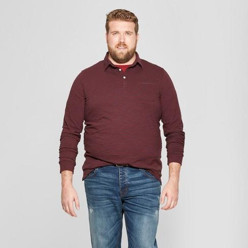 Men's Big & Tall Striped Standard Fit Long Sleeve Jersey Polo Shirt - Goodfellow & Co™ Berry Cobbler 2XBT - image 1 of 3
