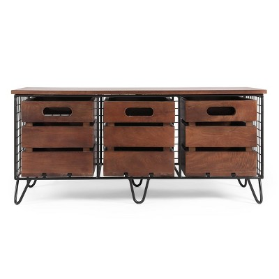 Wilhoit Modern Industrial Handcrafted Mango Wood Storage Bench with Drawers Cafe Brown/Black - Christopher Knight Home