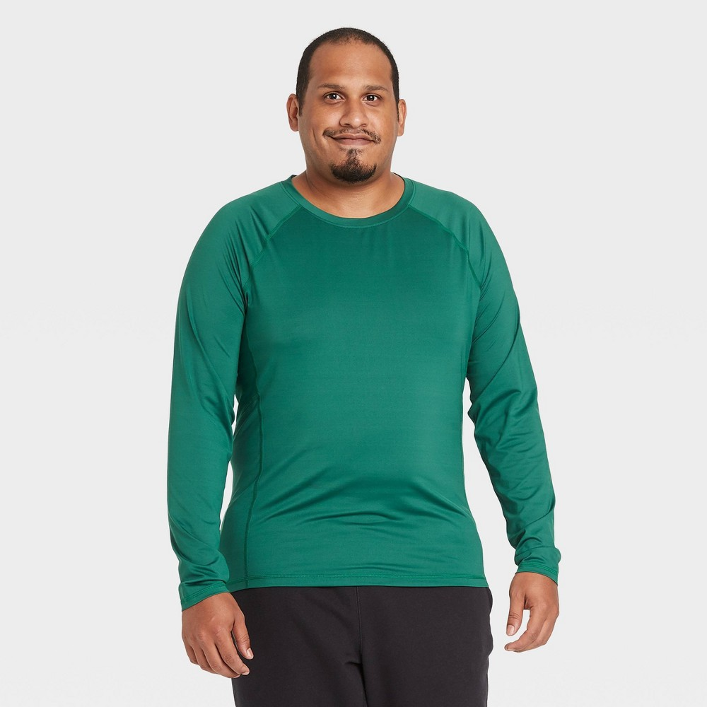 Men S Long Sleeve Fitted T Shirt All In Motion Green XXL