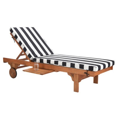 Newport Chaise Lounge Chair With Side Table - Natural/Black/White - Safavieh