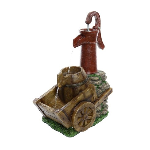 """24"""" Vintage Red Water Pump With Wheelbarrow Fountain Small - Alpine Corporation - image 1 of 3"""