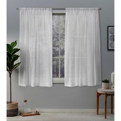 Set of 2 Belgian Textured Linen Rod Pocket Sheer Window Curtain Panels - Exclusive Home