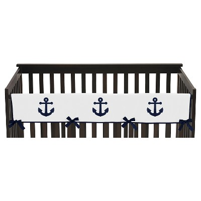 Sweet Jojo Designs Anchors Away Long Crib Rail Guard Cover - Navy