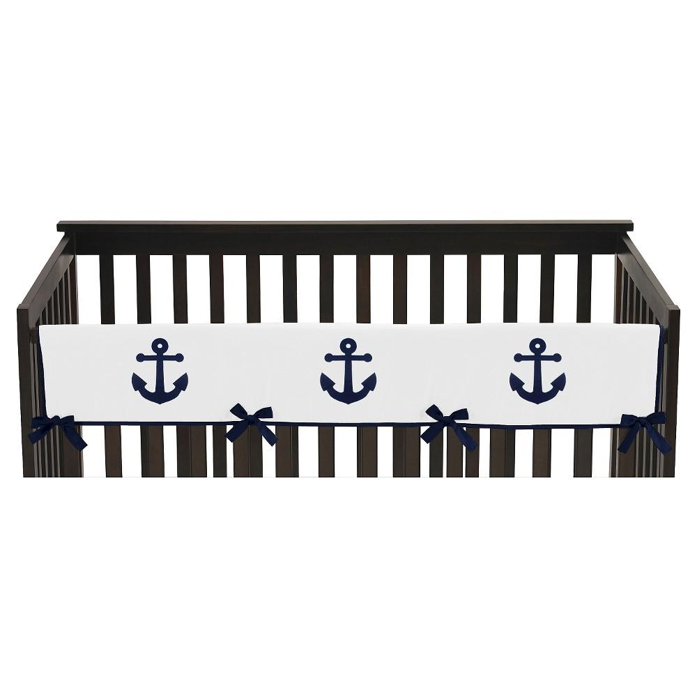 Image of Sweet Jojo Designs Anchors Away Long Crib Rail Guard Cover - Navy, White Blue