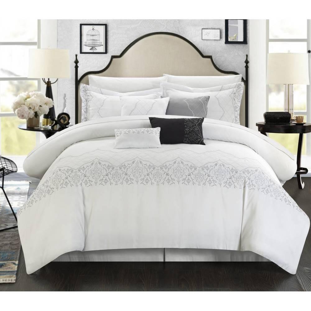 Chic Home Design Queen 8pc Gratia Comforter & Sham Set White