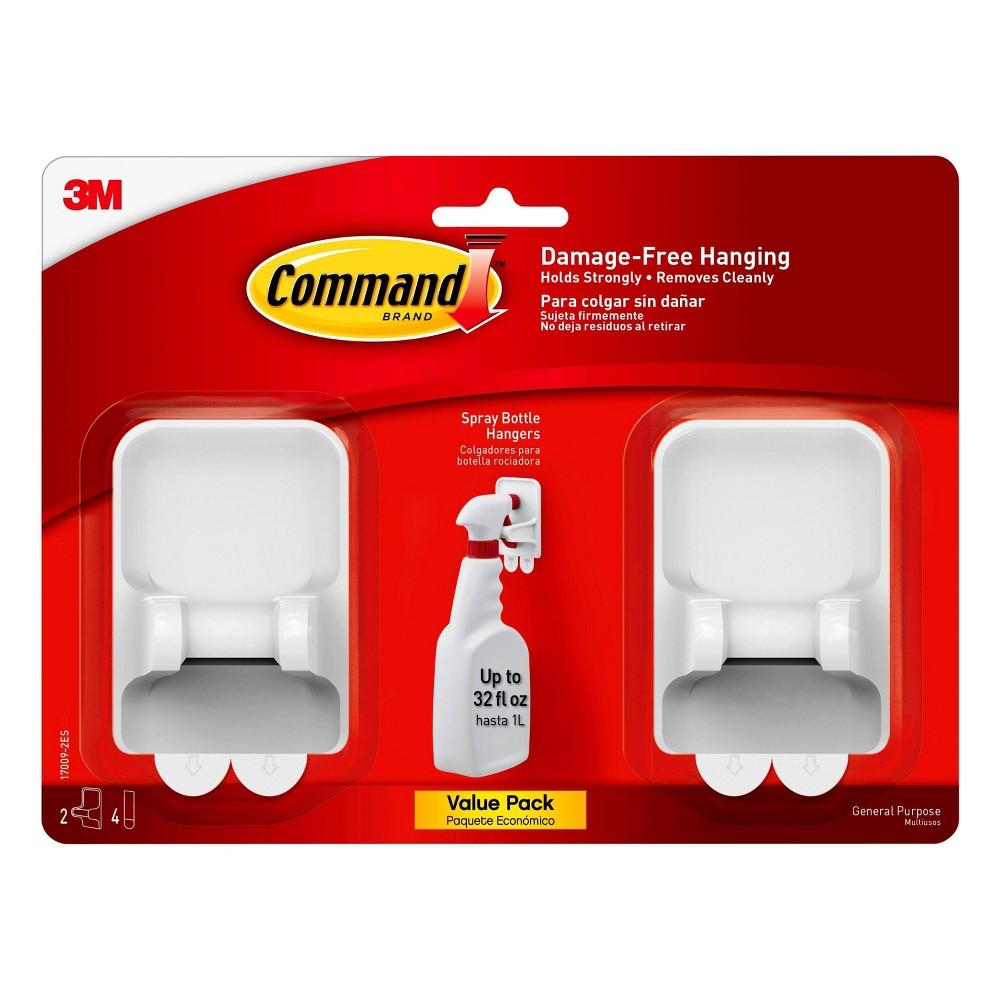 Command Spray Bottle Hangers (2 Hangers/4 Strips per Pack) White