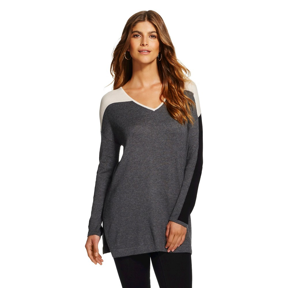 Women's Colorblock Long Sleeve Pullover Sweater Gray Combo XL - August Moon