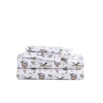 King Patterned Flannel Sheet Set Woodland Friends - Eddie Bauer