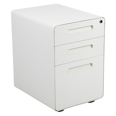 Flash Furniture Ergonomic 3-Drawer Mobile Locking Filing Cabinet with Anti-Tilt Mechanism and Hanging Drawer for Legal & Letter Files