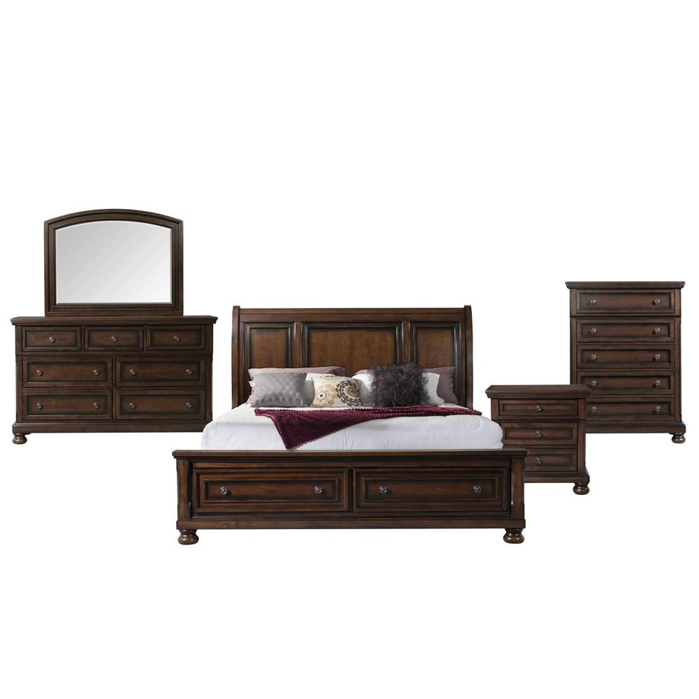 King 5pc Kingsley Storage Bedroom Set Walnut - Picket House Furnishings