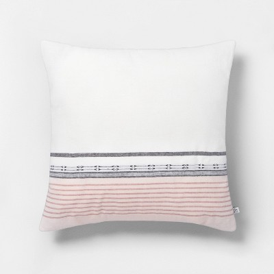 "18"" x 18"" Engineered Ombre Border Throw Pillow Sour Cream/Rose - Hearth & Hand™ with Magnolia"