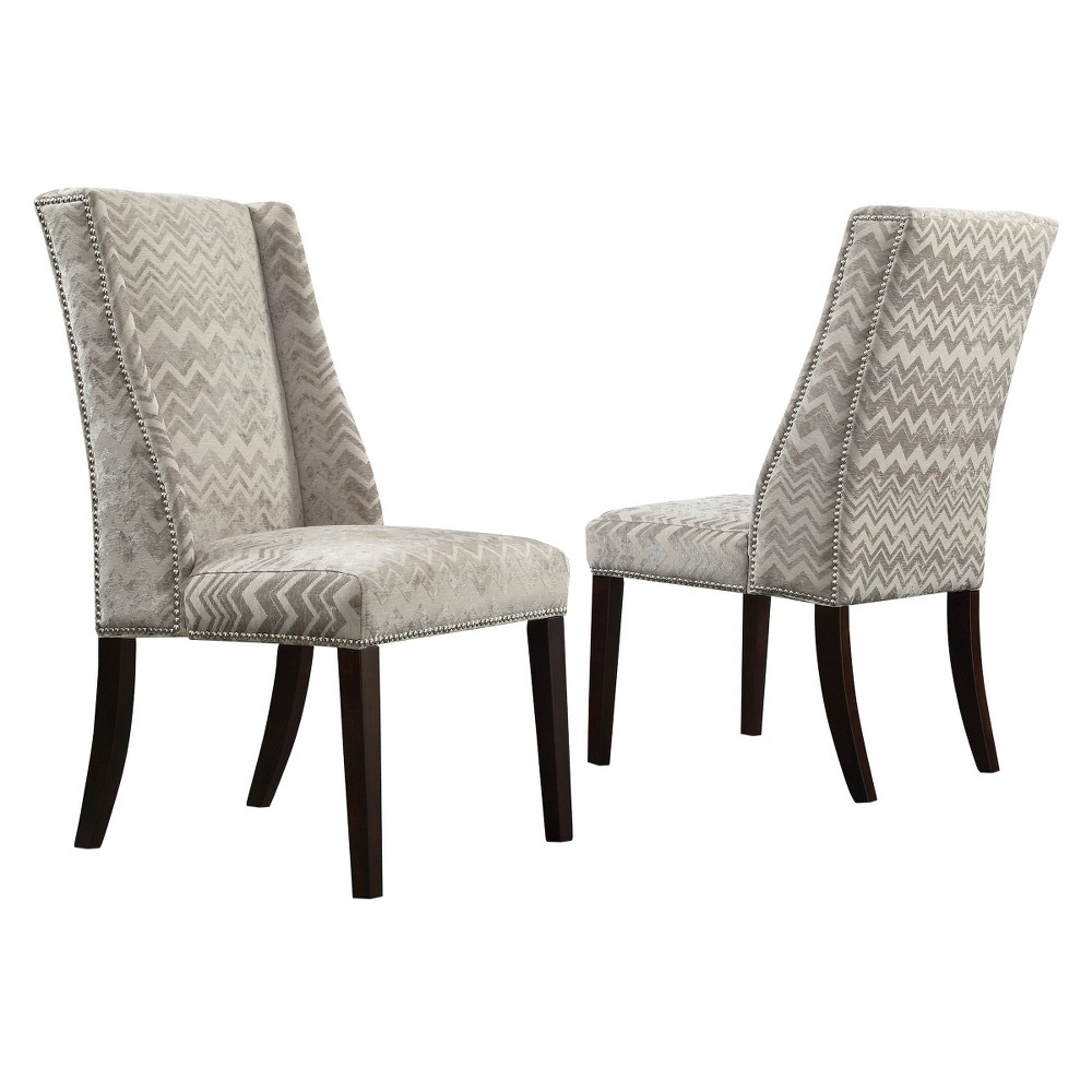 Harlow Wingback Dining Chair with Nailheads Wood/Velvety Chevron (Set of 2) - Inspire Q, Gray