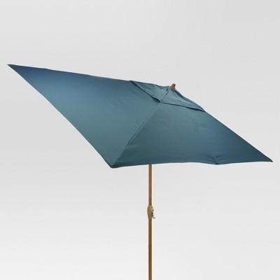 10' x 6' Rectangular Umbrella - Medium Blue - Medium Wood Finish - Threshold™