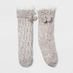 Women's Sequin Twist Sherpa Lined Slipper Socks with Grippers - One Size
