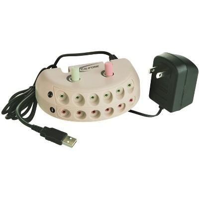 Califone 1216USB Six Position Jackbox, USB Plug, Beige