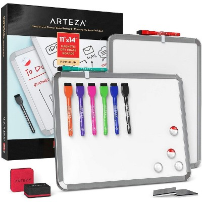 "Arteza Framed White Magnetic Dry Erase Lapboards Set with 2 Boards (8.5"" x 11""), 16 Markers with Cap Erasers, and Magnets"
