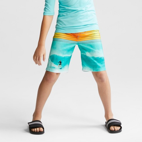Boys' Surfer Dude Swim Trunks - Cat & Jack™ Aqua L - image 1 of 4
