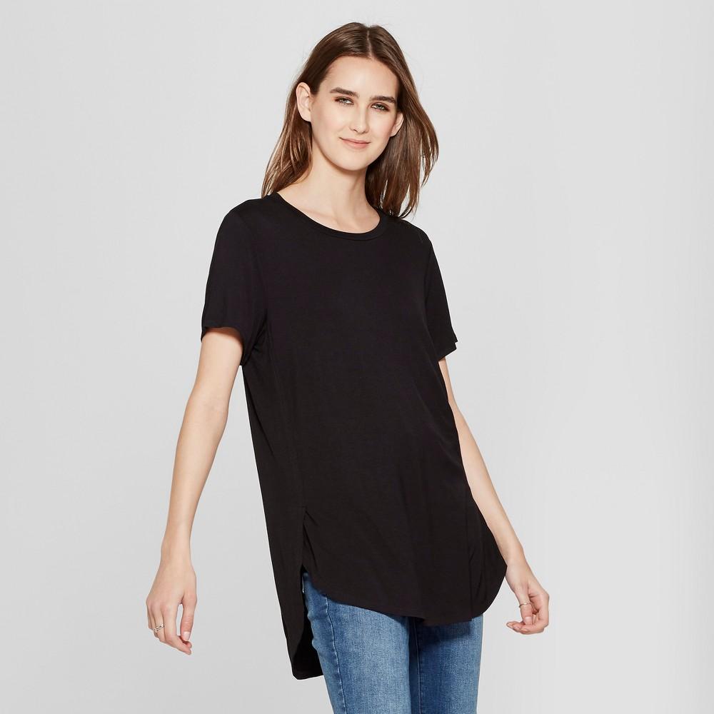 Women's Short Sleeve Side Slit Tunic - Alison Andrews Black S
