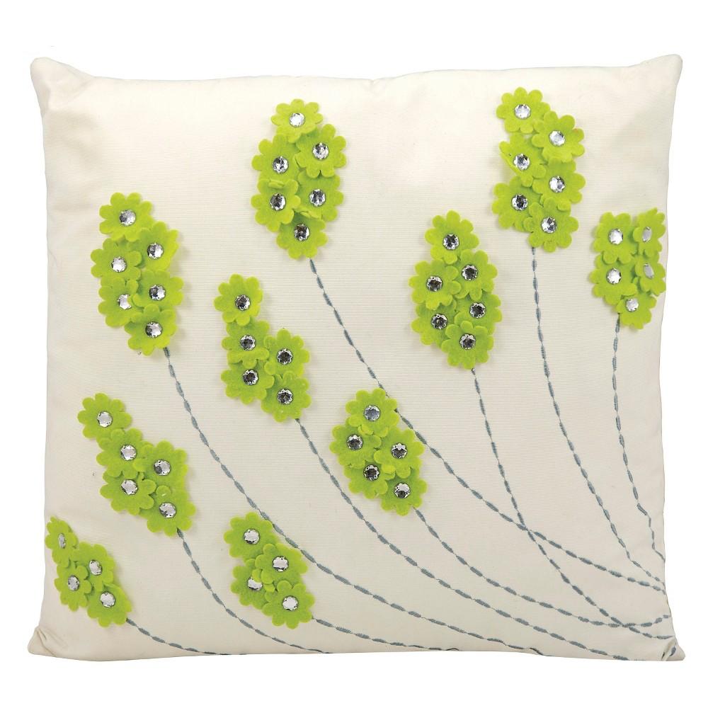 "Image of ""Green Sparkle Flowers Indoor/Outdoor Throw Pillow (20""""x20"""") - Nourison"""