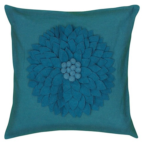 "Turquoise Leaf Applique and Embroidered Throw Pillow (18""x18"") - Rizzy Home - image 1 of 1"