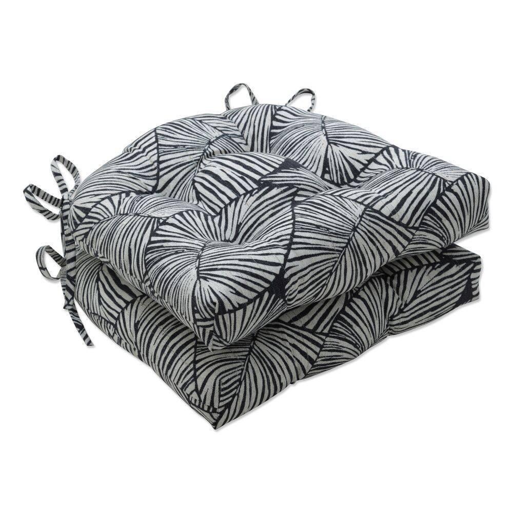 2pk Outdoor Indoor Reversible Chair Pad Set Talia Noir Black Pillow Perfect