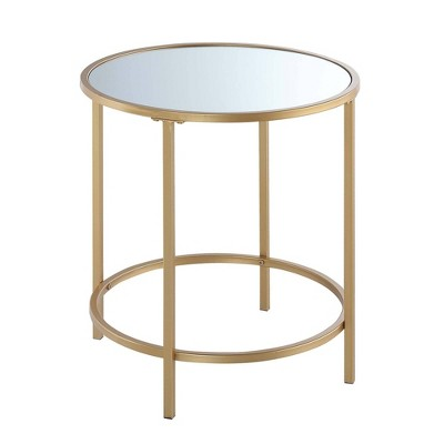 Gold Coast Deluxe Mirrored Round End Table - Johar Furniture