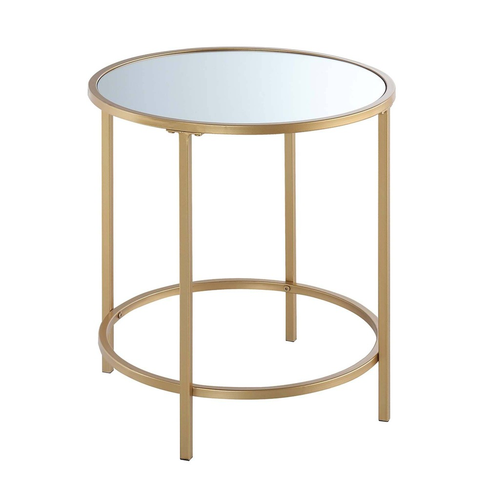 Gold Coast Deluxe Mirrored Round End Table Mirrored Top Gold Breighton Home