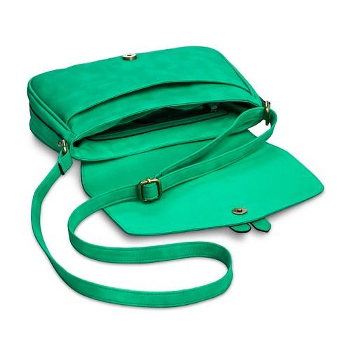 2cd7258d6904 Women s Vertical Buckles Crossbody Faux Leather Handbag - Merona™ Jade    Target