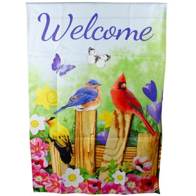 "Northlight Welcome Birds on a Fence Outdoor Garden Flag 28"" x 40"""