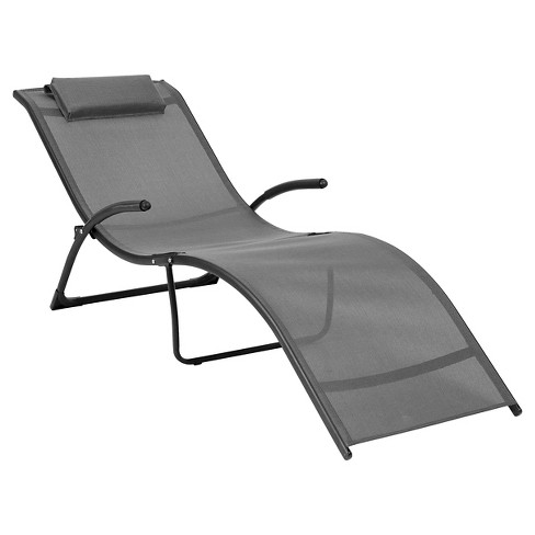 Corliving Riverside Folding Reclined Lounger In Black And Silver Gray - image 1 of 4